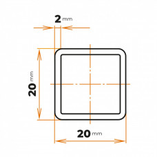 Uzavretý profil 20x20x2 mm