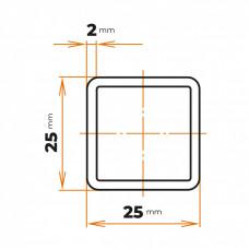 Uzavretý profil 25x25x2 mm