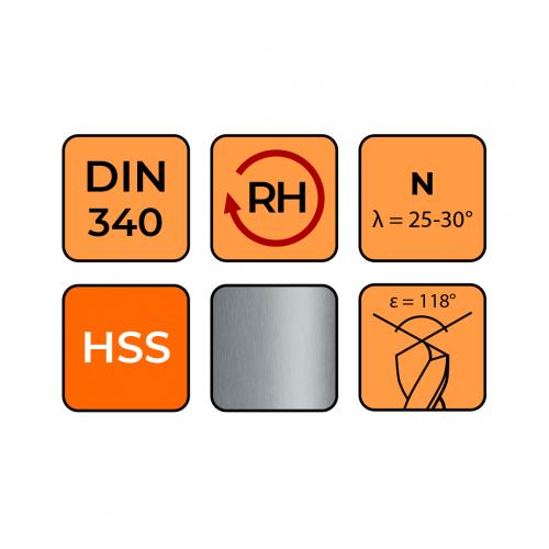 Vrták do kovu HSS 5,0 mm DIN340 (predĺžený)