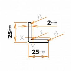 Tenkostenný profil L 25x25x2 mm