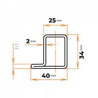 Uzavretý profil tvaru L 40x34x25 / 2 mm