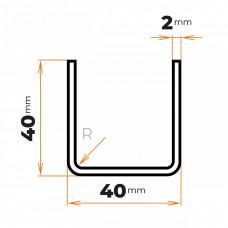 Tenkostenný profil U 40x40/2 mm