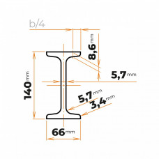 Tyč profilového prierezu I 140 mm