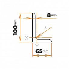 Tyč profilového prierezu L 100x65x8 mm