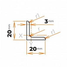 Tyč profilového prierezu L 20x20x3 mm