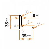 Tyč profilového prierezu L 35x35x3 mm