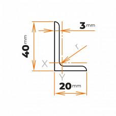 Tyč profilového prierezu L 40x20x3 mm