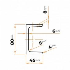 Tyč profilového prierezu U 80 mm